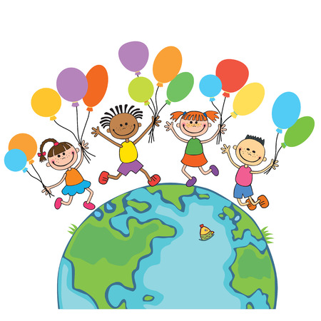 four happy jumping kids round the globe, with balloons isolated background cartoon Stock Illustratie