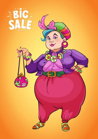 Funny Fat Lady Holding Shopping Bag to Promote Sales Stock Photo