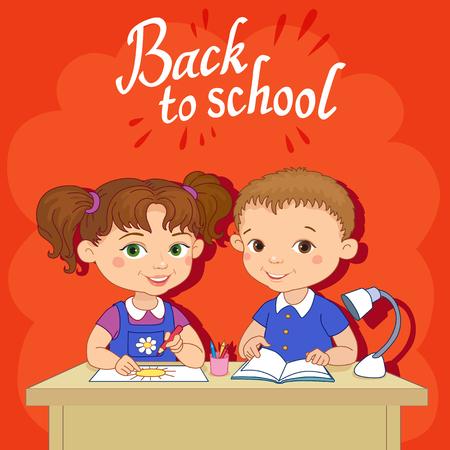 Funny pupils sit on desks read draw clay cartoon illustration