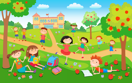 Children playing on the grass in the park before school