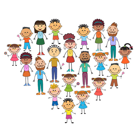 crowd happy people: Cartoon baby faces in heart shaped frame vector face, love, smile, illustration, childhood, kid, global, associations, unions, internationally, crowd, many, society,