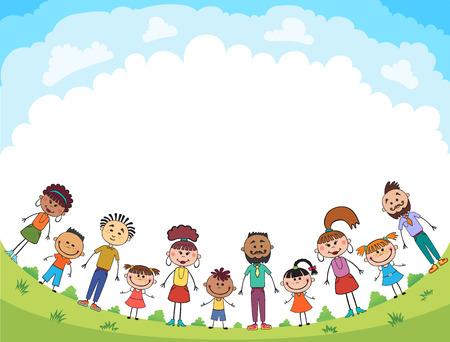 Children are jumping on the glade, bunner cartoon funny vector, illustration Illustration