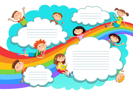 stickmen: Illustration of the sky boys and girls playing on the rainbow and clouds Illustration
