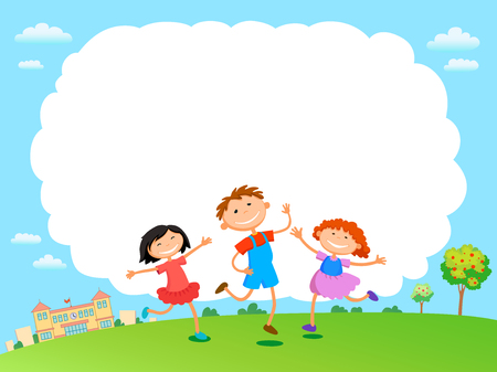 outdoor blank billboard: children play clouds design over sky background vector illustration