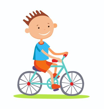 Editable vector illustration of boy cycling Stock Photo