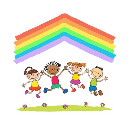 good friends: Kids jumping with joy on a hill under rainbow, colorful cartoon