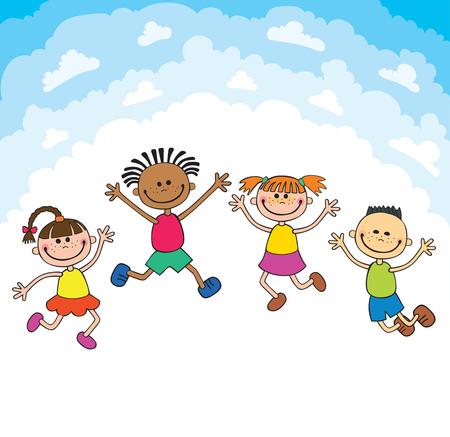 note booklet: kids jump on clouds design over sky background illustration cartoon