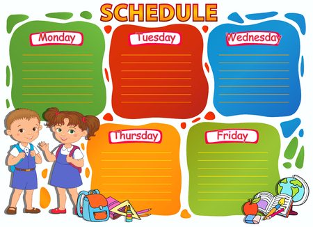 School timetable thematic image vector illustration.