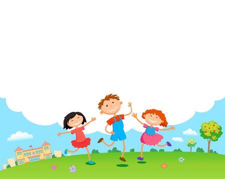 children play clouds design over sky background vector illustration