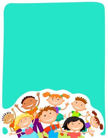 vector background blank with kids summer camp Ilustração