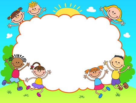 Kinder diploma certificaat achtergrond ontwerp sjabloon Stock Illustratie