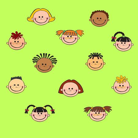 cartoon child face icon Ilustração