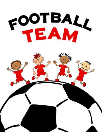 poster kids child boys on the soccerball. Flat vector illustration with text football lettering Ilustração