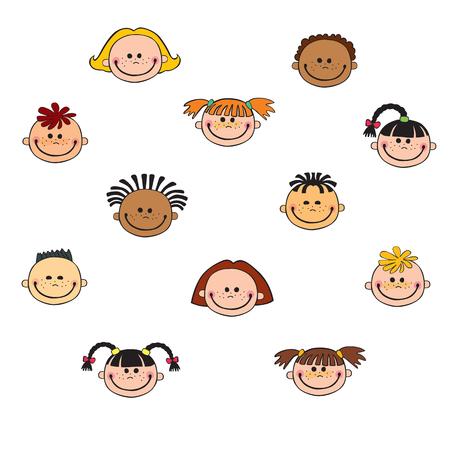 cartoon child face icon Imagens - 87048998
