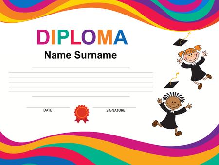 Kids diploma certificate background design template. Imagens - 94385593