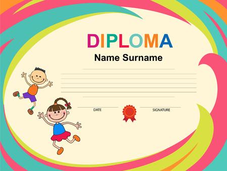 Kids Diploma certificate background design template Ilustração
