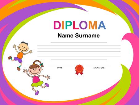 Kids Diploma certificate background design template Imagens - 95556891