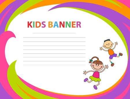 happy children run on the banner vector template colorful background
