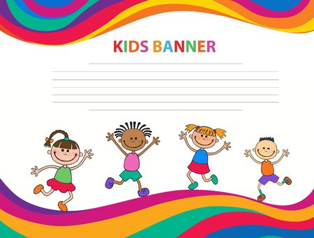 happy children run on the banner vector template colorful background Imagens - 95411503