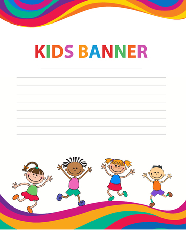 Happy children run on the banner vector template colorful background Imagens - 95556894