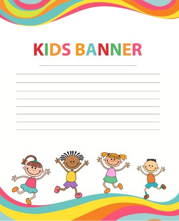 happy children run on the banner vector template colorful background Imagens - 95411504