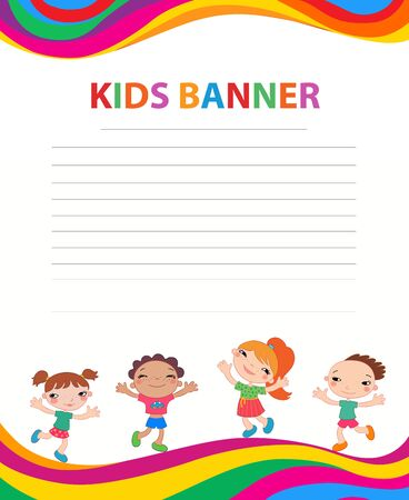 happy children run on the banner vector template colorful backround Illustration