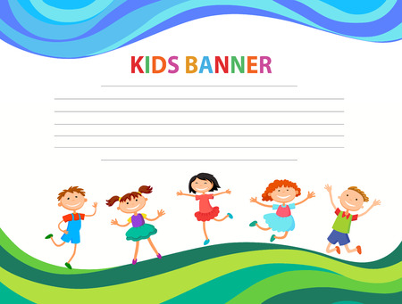 Happy children run on the banner vector template colorful background Imagens - 95556897