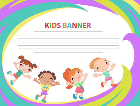 Happy children run on the banner vector template colorful background Imagens - 95556895