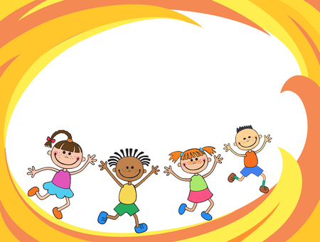 Happy children run on the banner vector template colorful background Imagens - 95556898