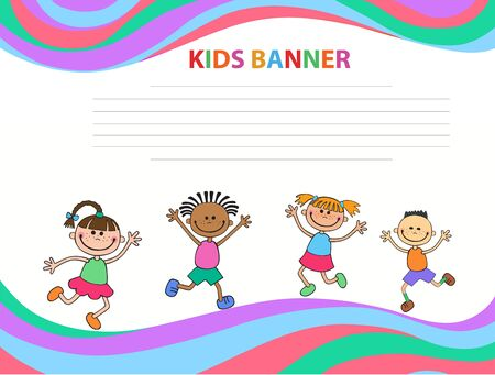 Happy children run on the banner vector template colorful background Imagens - 95556900