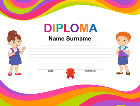 Kids Diploma certificate background design template Illustration