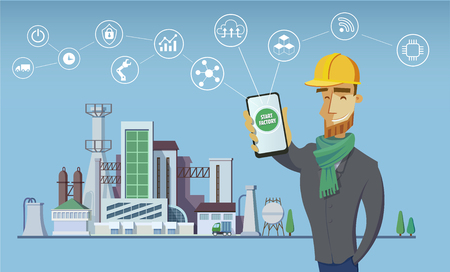 Engineer and smart factory concept. Industrial internet of Things. Sensor Network. Modern digital factory Vector