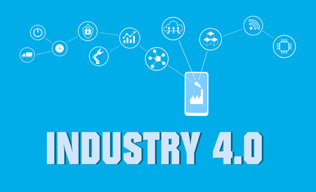 smart factory concept. Industrial internet of Things. Sensor Network. Modern digital factory Vector Vettoriali