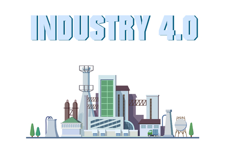 A smart factory concept. Industrial internet of Things. Sensor Network. Modern digital factory Vector