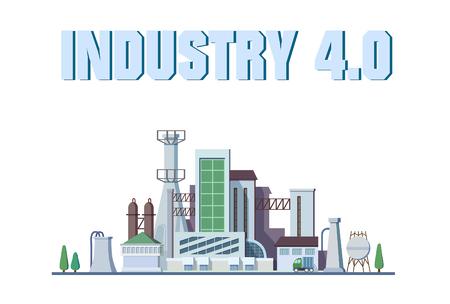 Un concepto de fábrica inteligente. Internet industrial de las cosas. Red de sensores. Vector de fábrica digital moderna Ilustración de vector