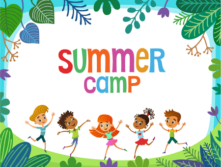 children are jumping on the glade, bunner cartoon funny vector, Ready for your message. blank template character. illustration summer camp Imagens - 108010814
