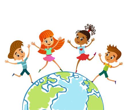 Globe kids on globe. International friendship day. Earth day. Vector illustration of diverse Children Holding Hands. jumping Ilustração