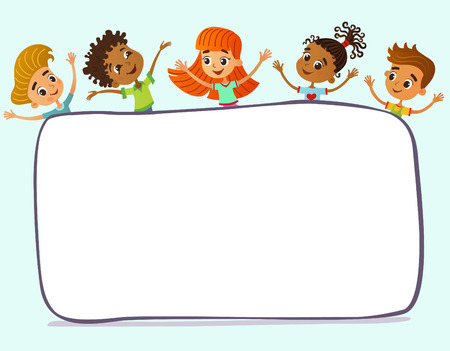 Children near paper. Template for advertising brochure. Ready for your message. Kid pointing at a blank big sale. Funny cartoon character. Vector illustration