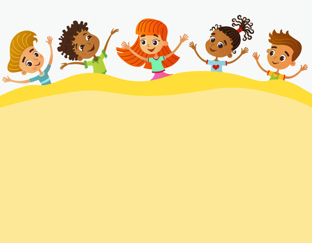 Children near paper. Template for advertising brochure. Ready for your message. Kid pointing at a blank big sale. Funny cartoon character. Vector illustration Ilustração