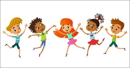 collection isolée d'enfants heureux enfants dans différentes positions vector illustration
