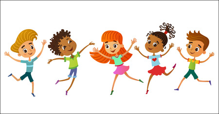 isolated collection of happy children kids in different positions vector illustration Imagens - 110172073