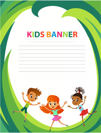 children are jumping on the glade, bunner cartoon funny vector, Ready for your message. blank template character. illustration summer camp Imagens - 110172074