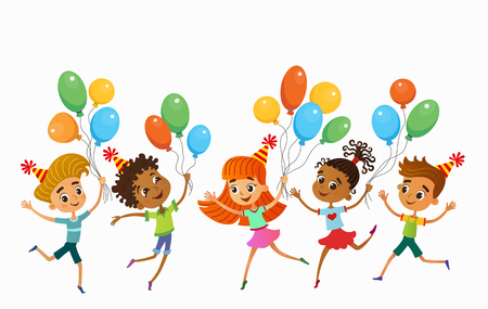 children are jumping with balloons birtday party background bunner cartoon funny Ready for your message vector character illustration Imagens - 110172077
