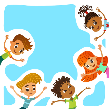 Children near paper. Template for advertising brochure. Ready for your message. Kid pointing at a blank big sale. Funny cartoon character. Vector illustration Illustration