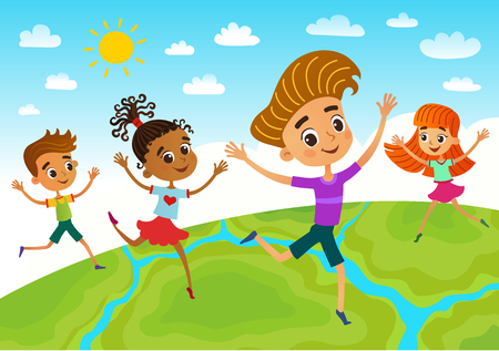 Globe kids on globe. International friendship day. Earth day. Vector illustration of diverse Children Holding Hands. Imagens - 110172080