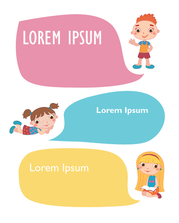 Vector brochure backgrounds with cartoon children. Infographic template design. Courtesy lesson for children rights to the banner advertisement for children illustration Imagens - 110152869