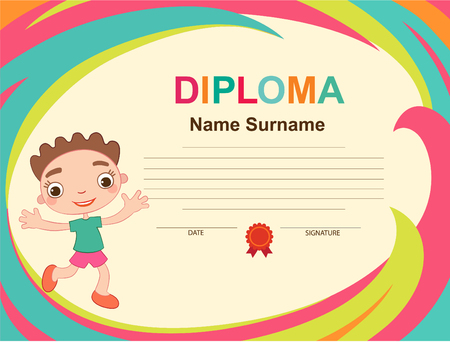 Kids Diploma certificate background design template vector illustration Imagens - 110152872