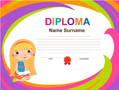 Kids Diploma certificate background design template vector illustration Imagens - 110152873