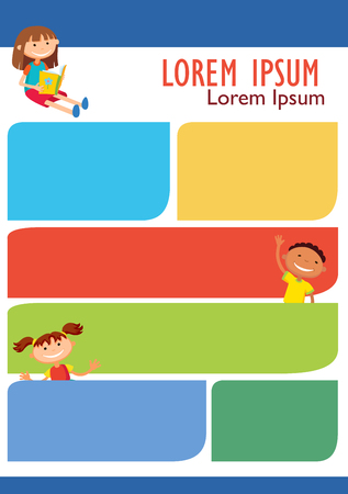 Vector brochure backgrounds with cartoon children. Infographic template design. Courtesy lesson for children rights to the banner advertisement for children illustration Imagens - 110152877
