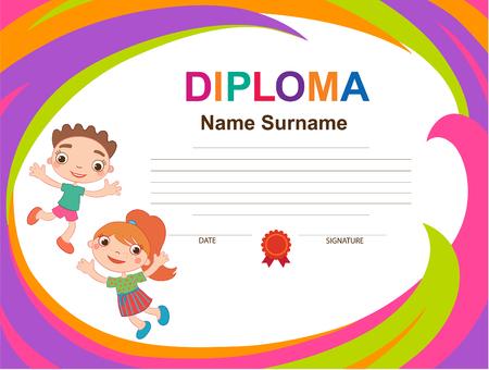 Kids Diploma certificate background design template vector illustration Imagens - 108040096